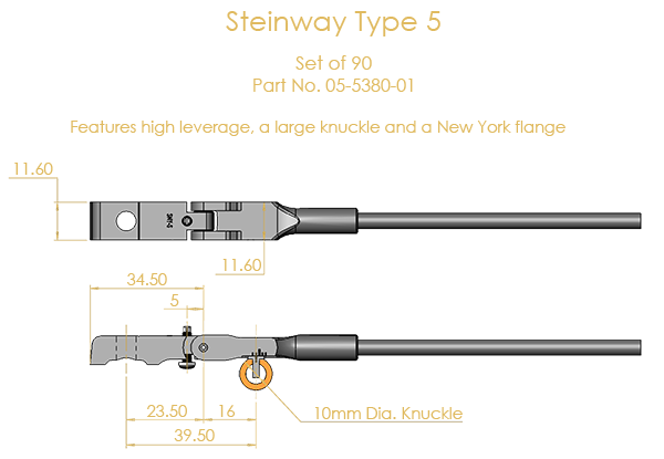 Steinway Type 5 Shank & Flange Set, (knuckles not attached)