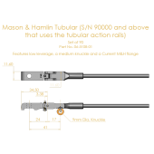 Mason & Hamlin Shank & Flange Set for Tubular Rail, (knuckles not attached)