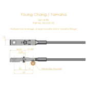 Young Chang / Yamaha Shank & Flange Set, Flex 2 (knuckles not attached)
